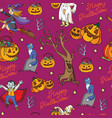 halloween seamless pattern with pumpkins vampire vector image