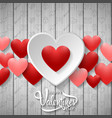 happy valentines day with white and red heart vector image vector image