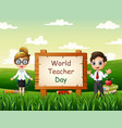 happy world teacher daysmiling a teachers on natu vector image vector image