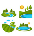 lakes and nature landscapes set with sun vector image vector image
