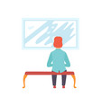 man sitting on the bench and looking at the vector image vector image