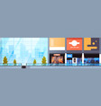 modern shopping mall empty horizontal banner big vector image vector image