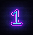number one symbol neon sign first number vector image