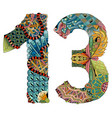 number thirteen zentangle decorative vector image vector image