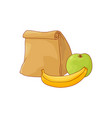 paper lunch bag and apple with banana for break in vector image
