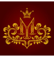 Patterned golden letter M monogram in vintage vector image vector image