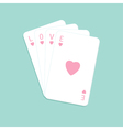 Playing card with heart Stuck big love pink word vector image vector image