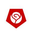 rose flower and pentagon shape logo vector image