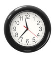 round wall clock in black body isolated on white vector image vector image