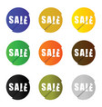 sale icon set in circle color vector image vector image