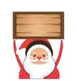 santa claus holding wooden box icon vector image