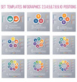 set 9 templates circles diagram infographics vector image