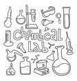 set laboratory equipment in black white vector image