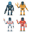 set robot characters police robot construction vector image