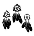 set three dream catchers with feathers and vector image