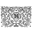 Simple hand drawn monogram design template vector image