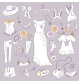 Stylish hand drawn set of women fashion items vector image vector image