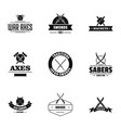 time of conflict logo set simple style vector image vector image