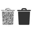 trash bin collage of service tools vector image