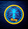 vintage honey emblem glowing neon vector image vector image