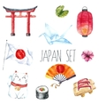 Watercolor set of Japan vector image vector image