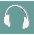 White headphones icon Isometric effect Dash line