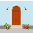 orange front door with electric lanterns on the vector image
