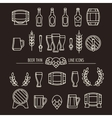Beer thin line icons vector image