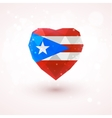 Flag of Puerto Rico in shape diamond glass heart vector image
