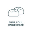 buns roll baked bread line icon buns vector image