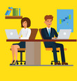 business people working on computer in office vector image vector image