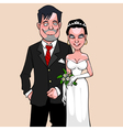 cartoon bride and groom vector image vector image