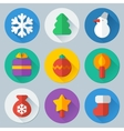 Christmas flat icons set vector image