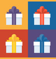 colorful gift box icon set vector image vector image