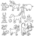 Coloring book with farm animals vector image