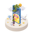 concept scene with woman choosing vacation vector image vector image