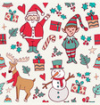cute christmas winter santa doodle background vector image vector image