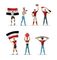 egypt football fans cheerful soccer supporters vector image vector image