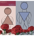 Fancy flower card with a pair of symbols male and vector image
