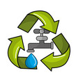 faucet with water drop inside of recycling symbol vector image