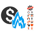 fire disaster price icon with lovely bonus vector image vector image