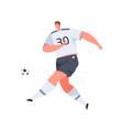 football player running and kicking ball with foot vector image vector image