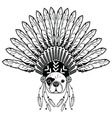 French buldog with tribal Headdress with plain vector image vector image