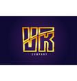 gold golden alphabet letter vr v r logo vector image