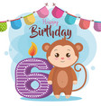 happy birthday card with monkey vector image vector image
