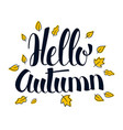 hello autumn calligraphy season banner design vector image vector image