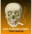 Human skull smoking cigarette Harm of smoking vector image vector image