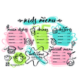 Kids menu template with lettering and badges vector image