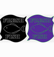 minimalistic label fresh fish on a black and vector image vector image