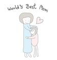 mom hug children hand drawn best mom vector image